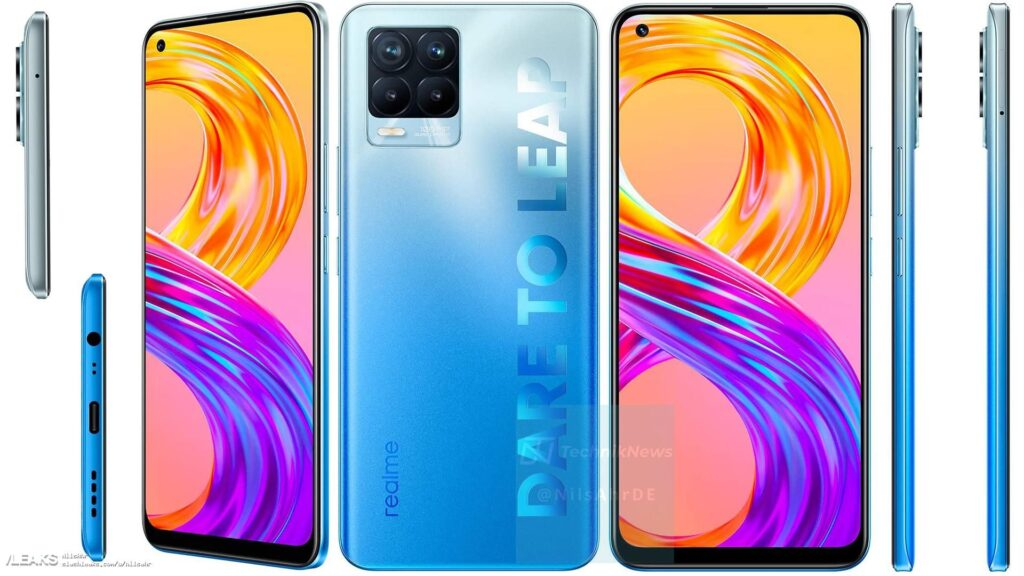 Realme 8 5G and Realme 8 Pro 5G are expected to be launched in India soon. Show vanilla model image