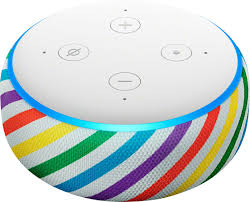 echo dot kids with button functions at the top: volume and power
