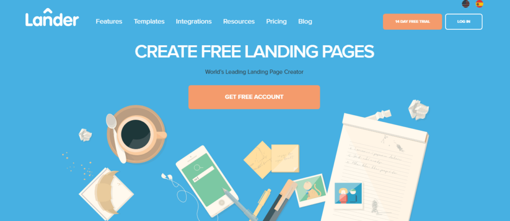 This is an image of the Lander.com homepage. it shows all accessible options including pricing, trial options, additional features, pros of using the platform, templates, and subscriptions