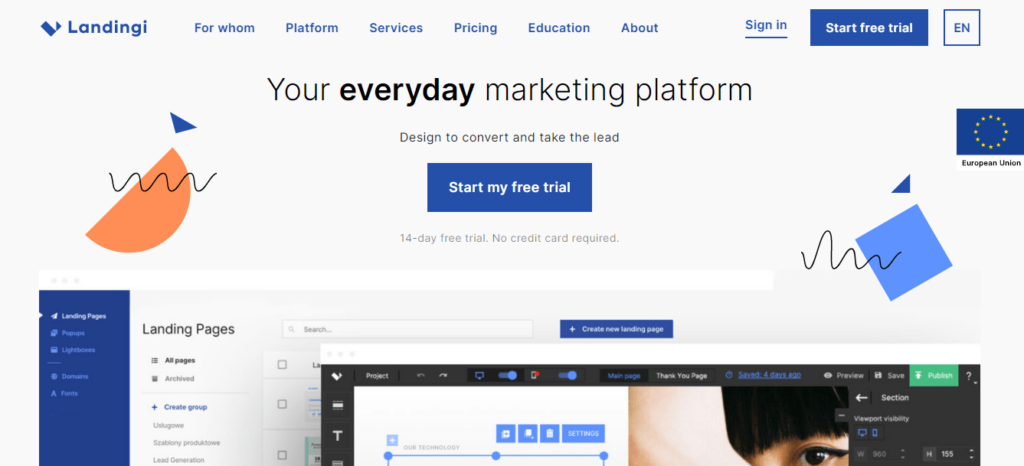 This is an image of the Landingi.com homepage. it shows all accessible options including pricing, trial options, additional features, pros of using the platform, templates, and subscriptions