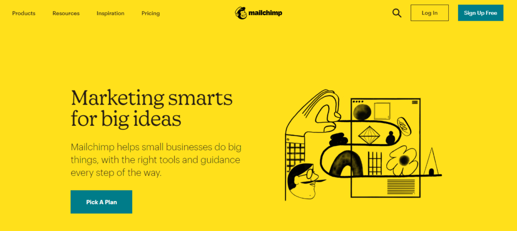 This is an image of the Mailchimp.com homepage. it shows all accessible options including pricing, trial options, additional features, pros of using the platform, templates, and subscriptions
