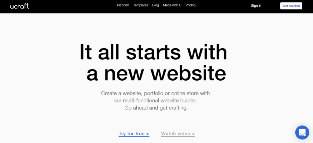 This is an image of the Ucraft.com homepage. it shows all accessible options including pricing, trial options, additional features, pros of using the platform, templates, and subscriptions