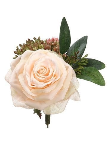silk Rose Sedum Boutonniere silk bridal flowers