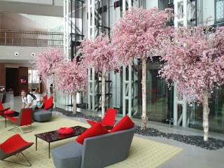artificial cherry blossom in lobby