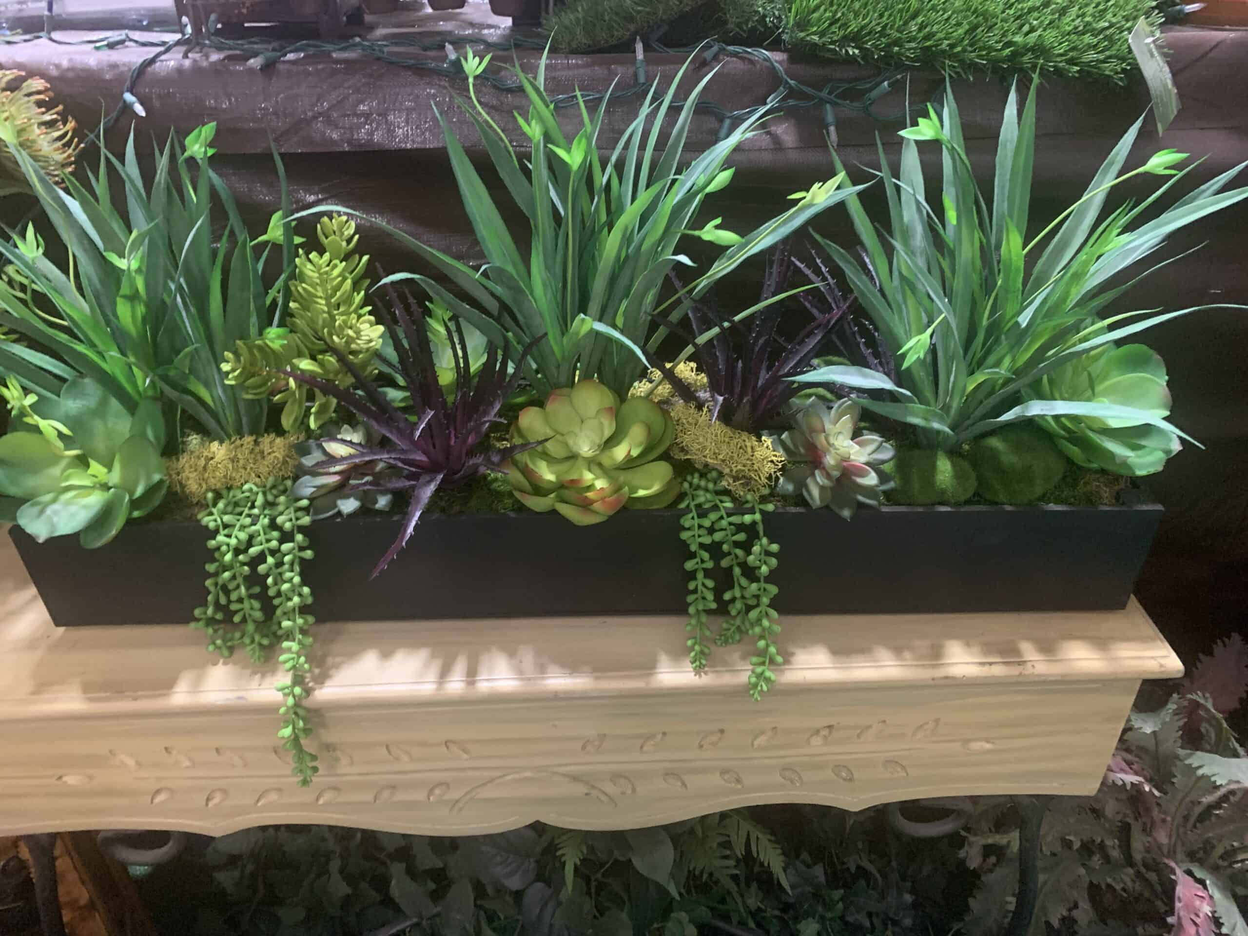 artificial succulents and grasses in box
