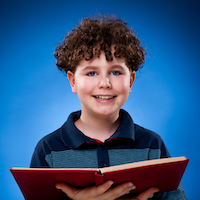 Boy with red book