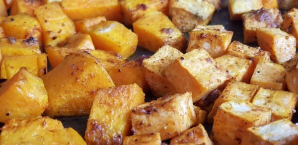 Roasted Squash with Onions, Spinach, Potatoes & Black Spinach