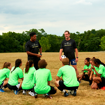 soccer team huddle with coaches