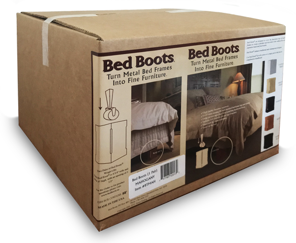 BedBoots distinctive shipping packaging with product images
