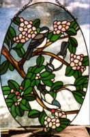 apple blossoms with Chickadees and nuthatch