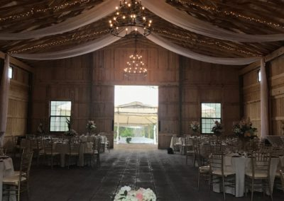 Inside view barn decorated for a wedding