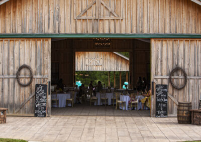 Sage creek farm barn decorated for a baby shower