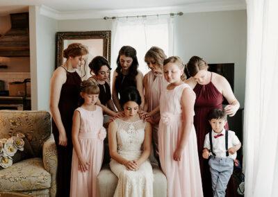 Michaela + Lucas Wedding praying family