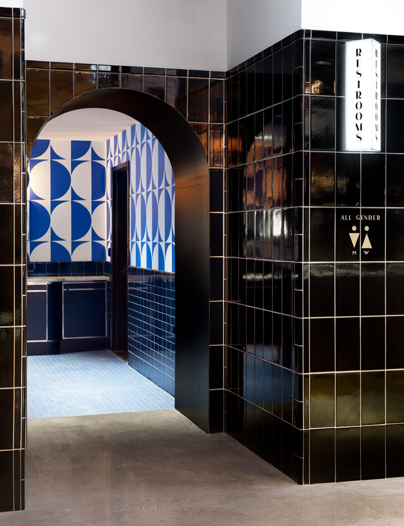Entrance to bathrooms at The Deco
