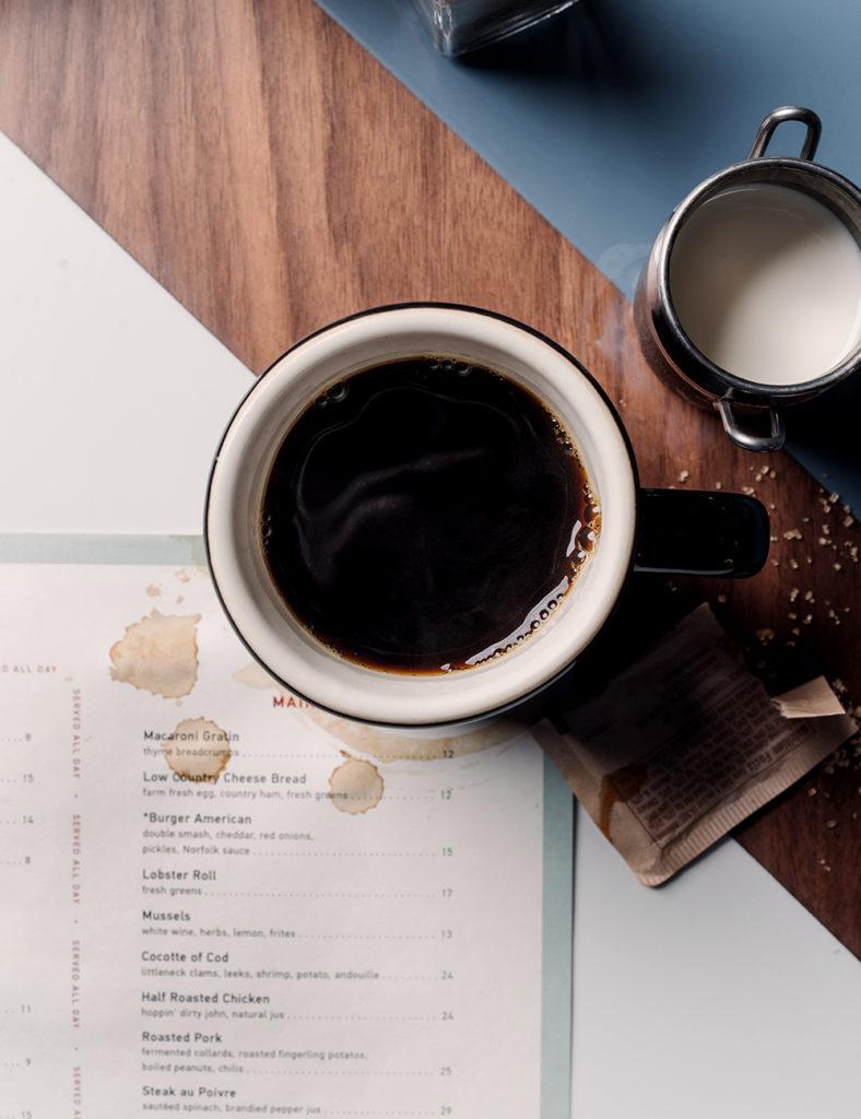 Coffee and menu at Rhett