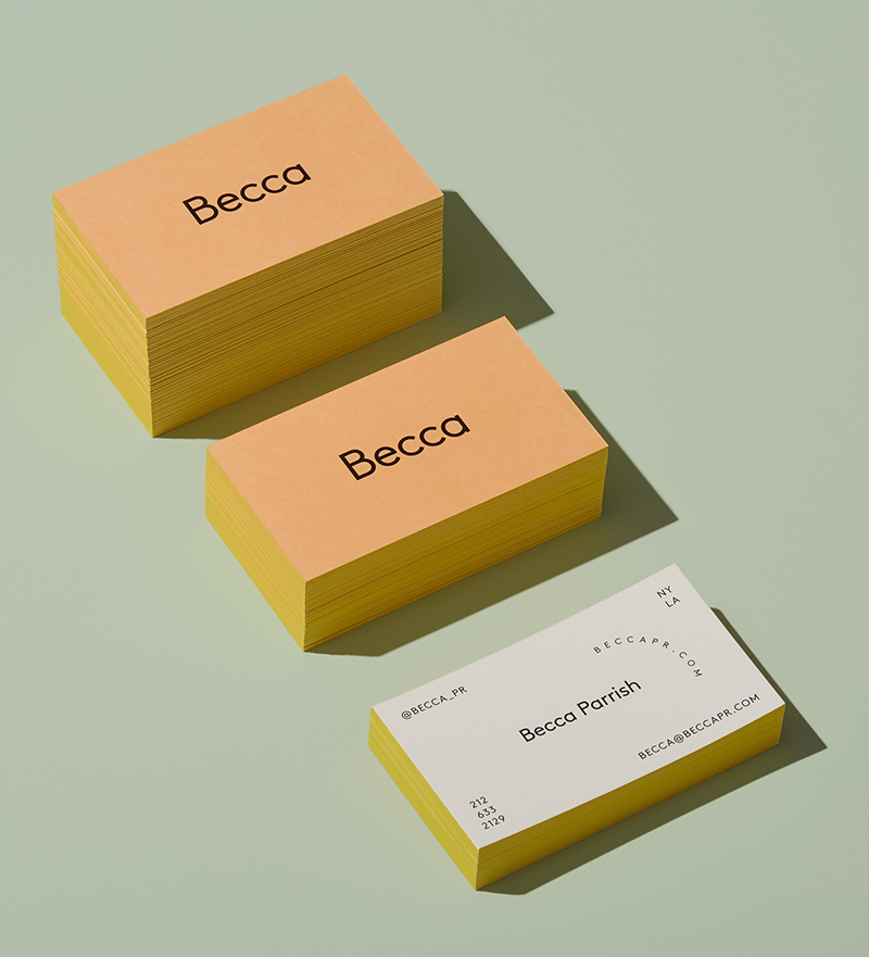 stacks of Becca business cards