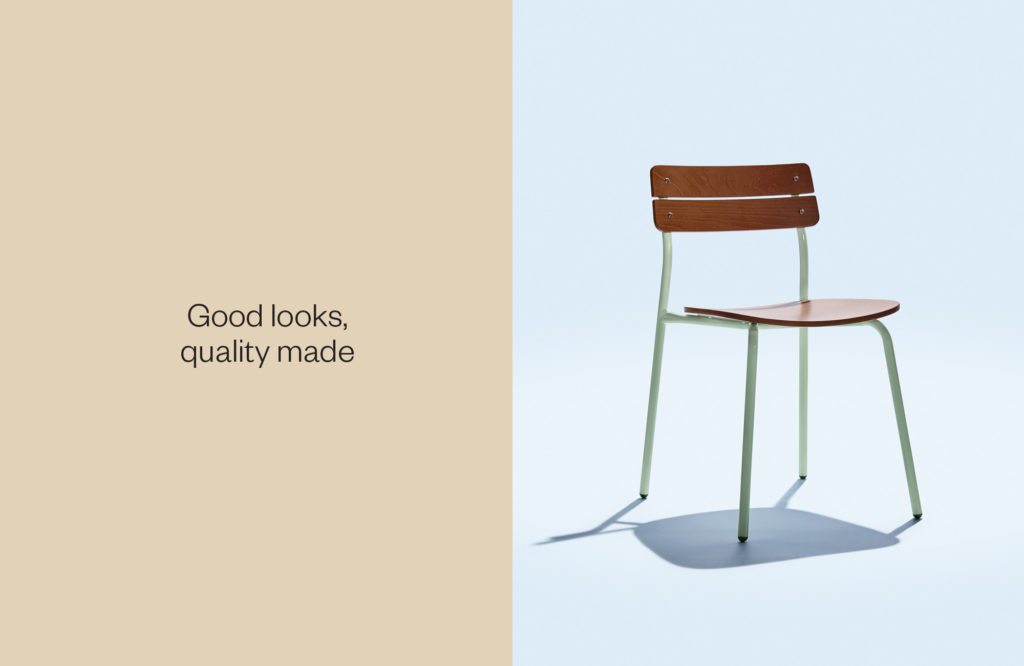 Single Brooke chair and tagline