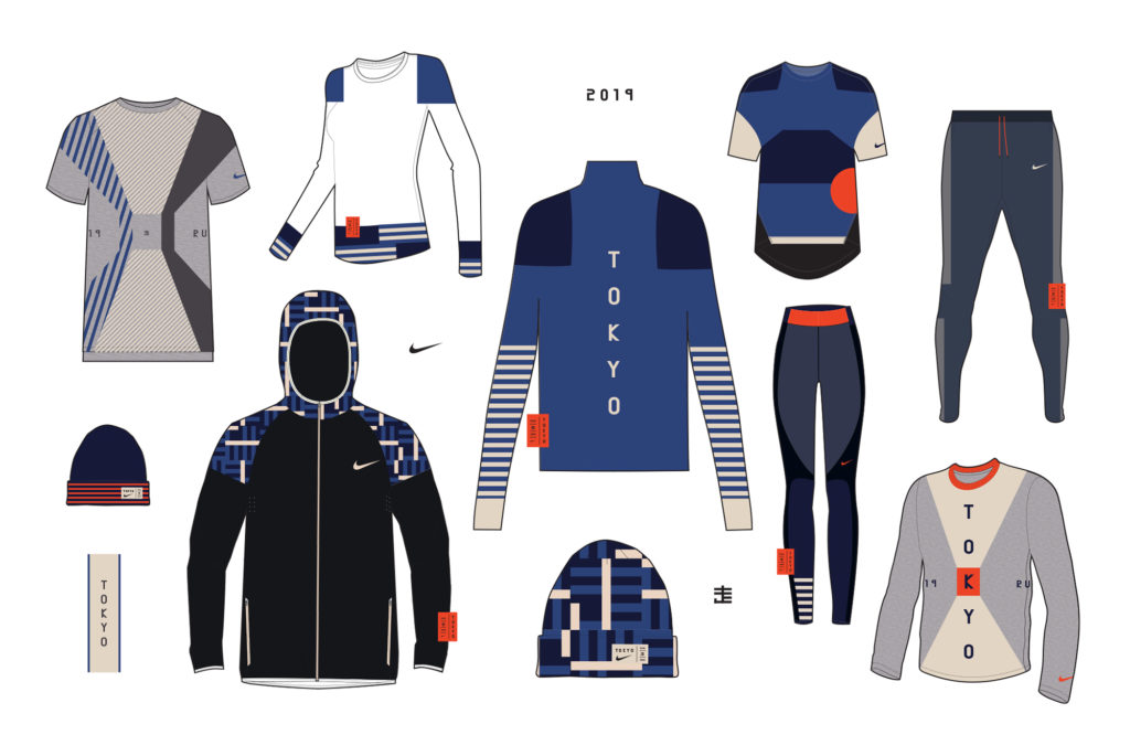 Silhouettes of 2019 Tokyo Marathon for Nike by LMNOP apparel