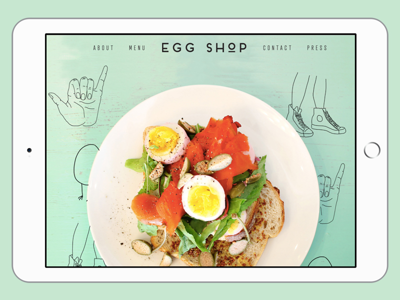 Tablet mock-up of Egg Shop website