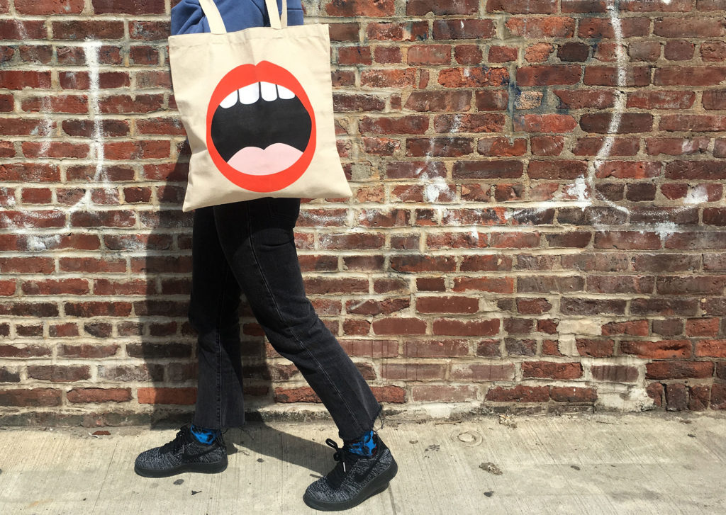 Project foodie tote bag on a model