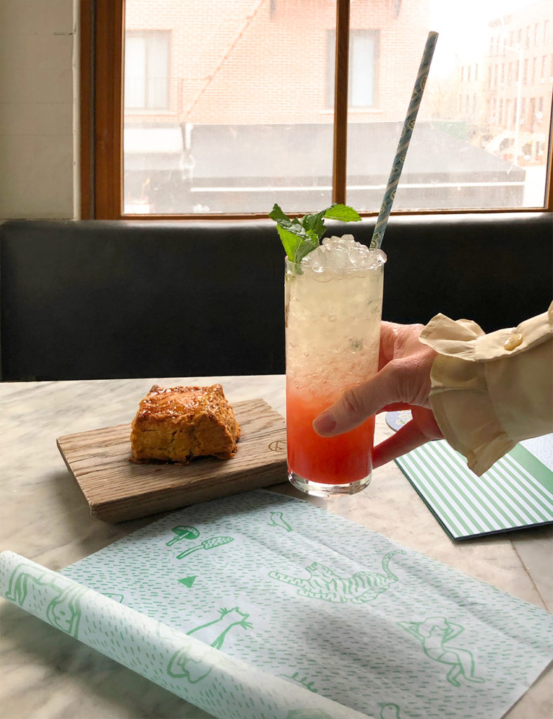 A cocktail and a scone