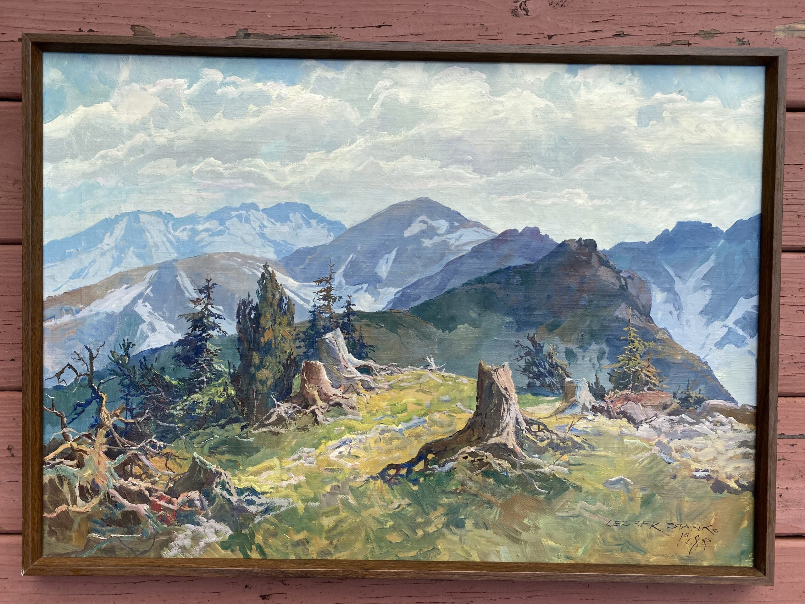 "Leszek Stanko (1925-2011) Signed Landscape with Mountains 1968 Oil on Canvas. Framed measurement 20.5"" x 28"" ~ $185.00"