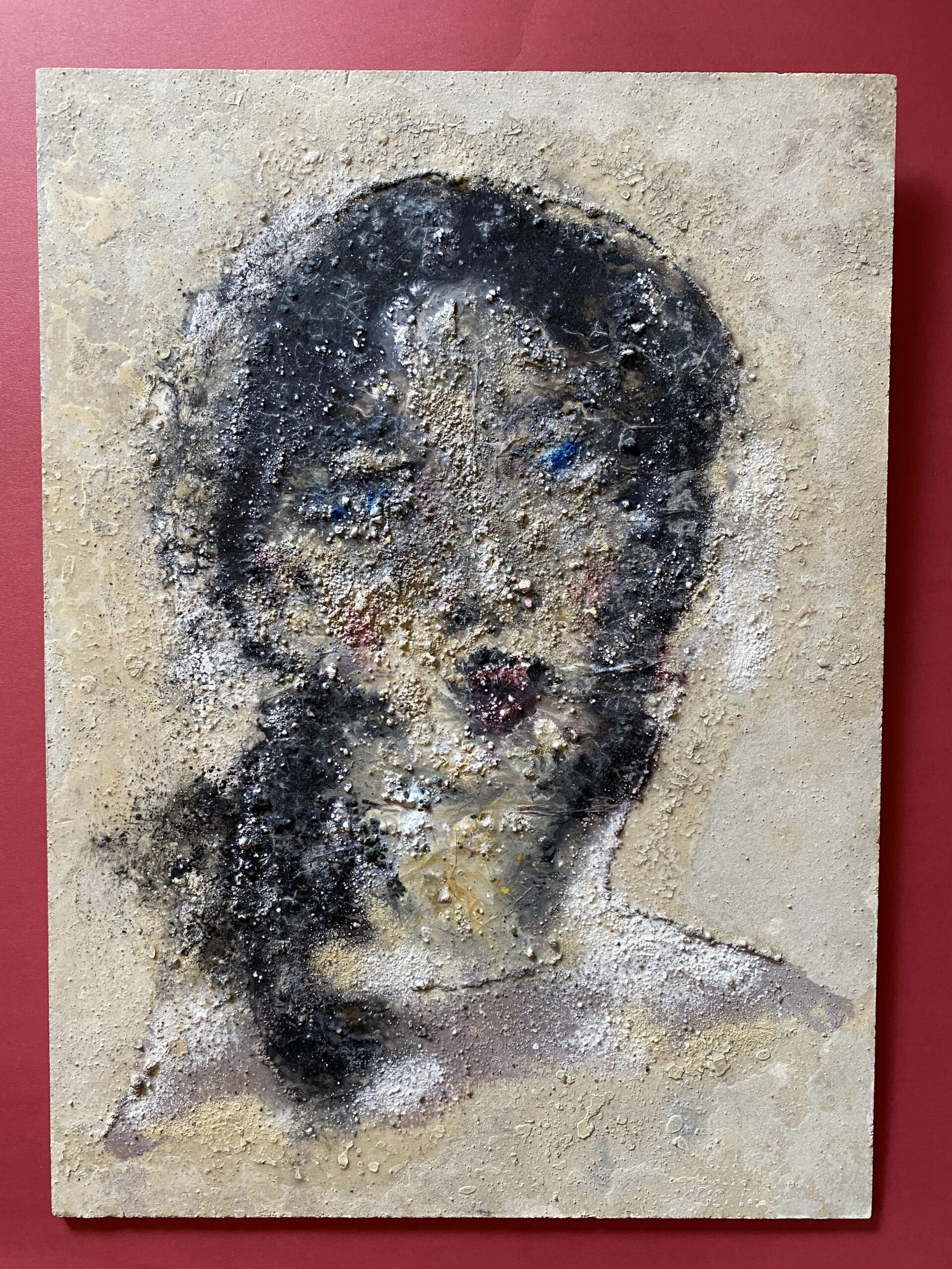 """Unusual Textured Abstract Oil Painting on Heavy Fiberboard of a Woman. She has a tag on the back where she sold at Bonham's Auction. Unframed she measures 15.75"""" x 21.5""""~$395"""