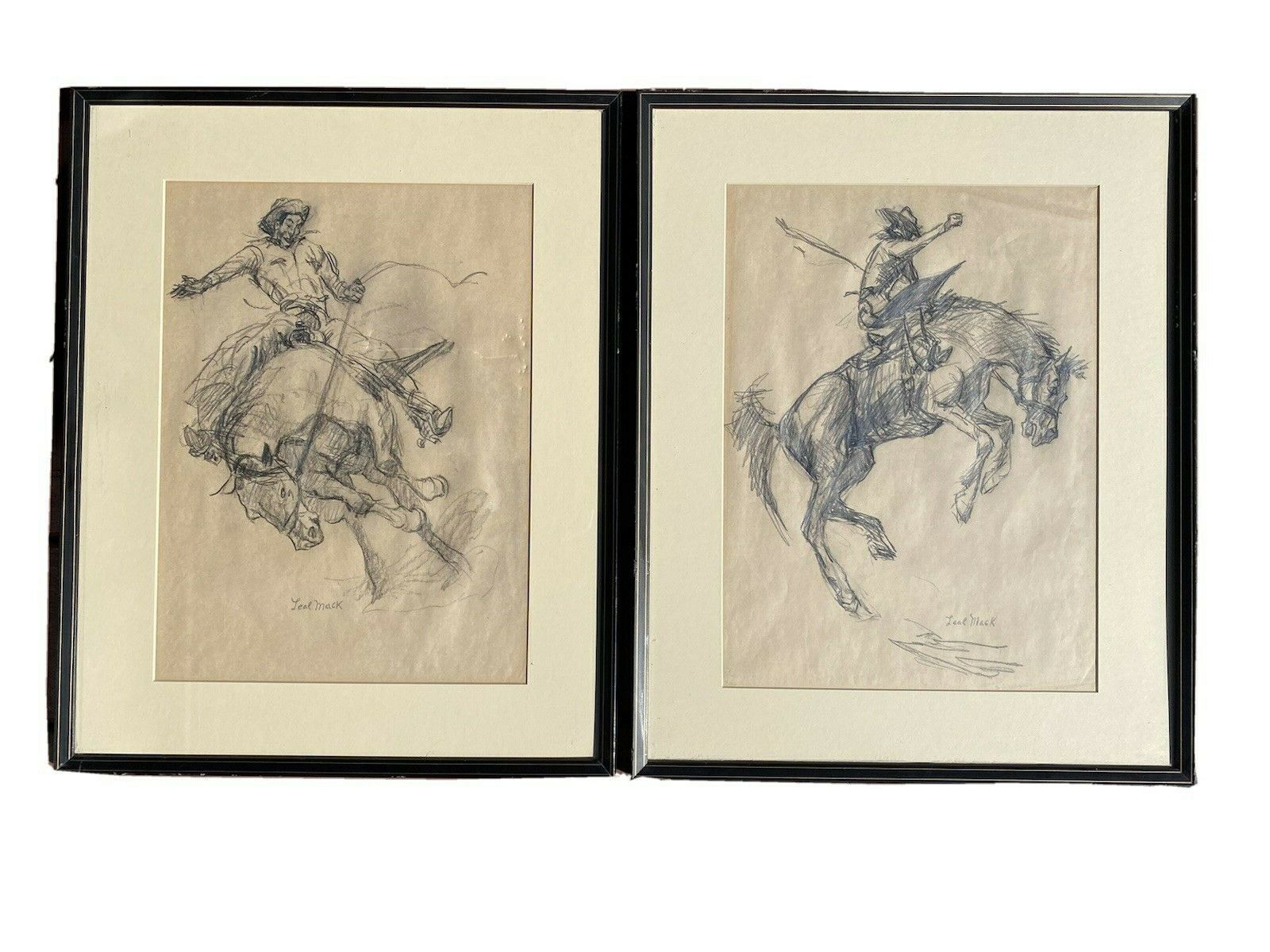 """Pair Leal Mack American (1892-1962) Charcoal Bucking Bronco Western Drawings. Leal Mack was a painter and a magazine illustrator born in Titusville, Pennsylvania. He worked for The Saturday Evening Post, Harper's, Country Gentleman and Youth's Companion. He relocated to Taos, New Mexico in 1944 where his works centered on Western Cowboy Themes. These two signed charcoal drawings are in good condition other than the one on the left has some indentation on the paper. The framed measurement is 16.75"""" x 20.75"""" each ~ $165"""