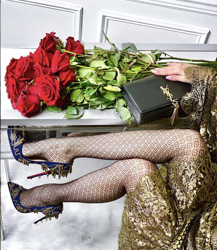 Magdallena Black YSL purse and Louboutins