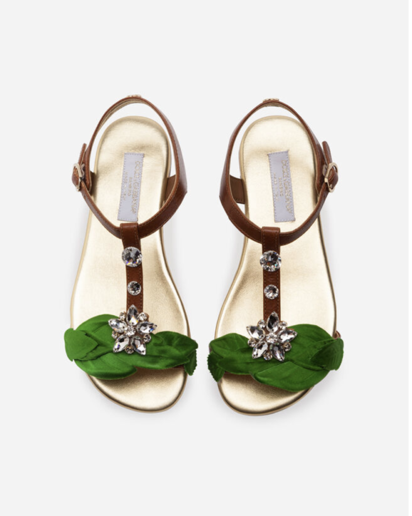 #4 Top Designer Shoes For Kids   - Dolce&Gabbana T-Strap Sandals in cowhide with jewel applique