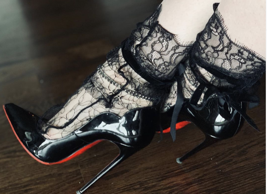 Classic Stilettos With Black Lace Socks - Engineering in 130mm Christian Louboutins