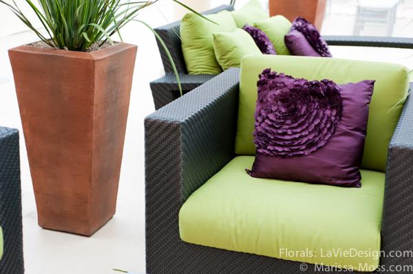 la-vie-en-rose-lounge-cocktail-hour-furniture-purple-pillows-hyatt-clearwater-beach-florida