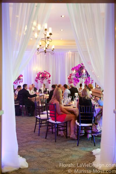 la-vie-en-rose-reception-centerpiece-phalaenopsis-orchid-hydrangea-crystal-candelabra-candle-hyatt-clearwater-beach-florida