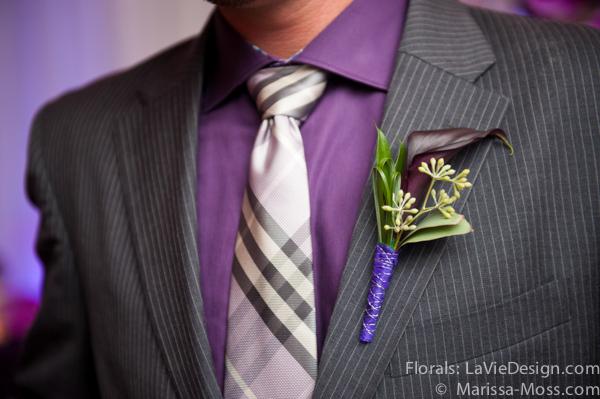 la-vie-en-rose-purple-plaid-tie-boutineer-calla-lily-hyatt-clearwater-beach-florida