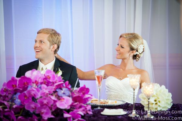 la-vie-en-rose-reception-purple-candle-sweetheart-table-bride-groom-table-phalaenopsis-orchid-hyatt-clearwater-beach-florida