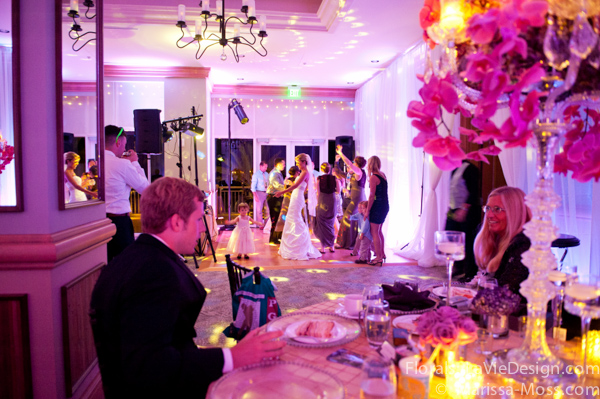 la-vie-en-rose-reception-centerpiece-purple-dance-floor-phalaenopsis-orchid-hydrangea-crystal-candelabra-candle-hyatt-clearwater-beach-florida