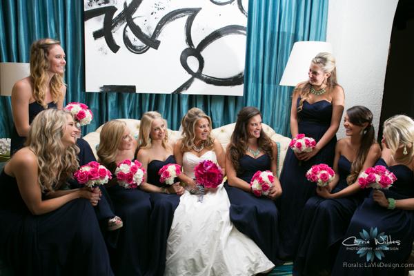 la-vie-en-rose-pink-fuschia-chevron-ribbon-phalaenopsis-vanda-orchid-peonies-bride-bride's-maid-white-hydrangea-bouquet-wedding-renaissance-vinoy-st.pete-florida-museum-of-fine-arts
