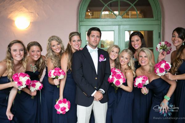 la-vie-en-rose-pink-fuschia-chevron-bride's-maid-groom-navy-white-hydrangea-bouquet-wedding-renaissance-vinoy-st.pete-florida-museum-of-fine-arts