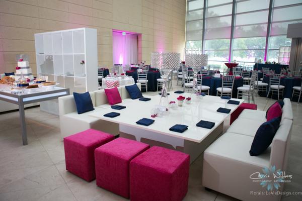 la-vie-en-rose-pink-fuschia-reception-navy-white-lounge-furniture-crystal-lamps-wedding-st.pete-florida-museum-of-fine-arts