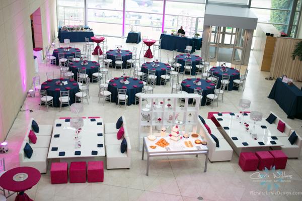 la-vie-en-rose-pink-fuschia-reception-navy-white-lounge-furniture-wedding-st.pete-florida-museum-of-fine-arts