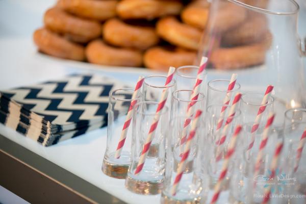 la-vie-en-rose-pink-fuschia-chevorn-reception-navy-dessert-cake-table-wedding-st.pete-florida-museum-of-fine-arts