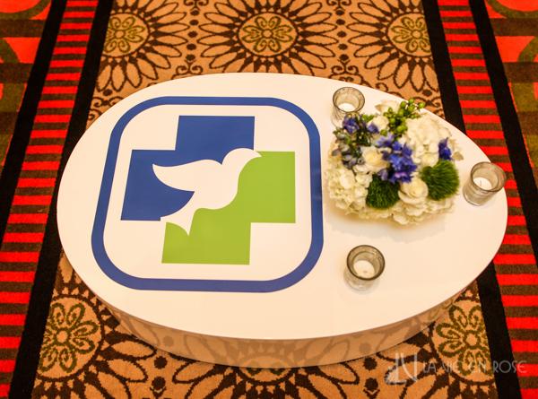 la-vie-en-rose-white-coffee-logo-sticker-blue-green-table-floor-furniture-corporate-party-sandpearl-resort-clearwater-florida-