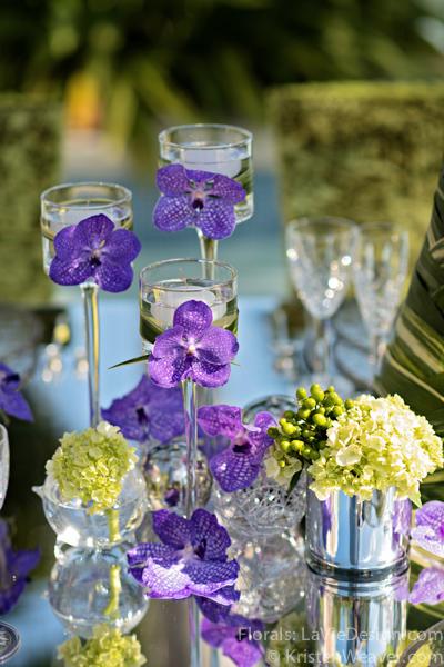 la-vie-en-rose-grace-ormonde-mirrored-table-top-floating-candle-blue-vanda-grass-orchid-shoot-green-purple-miami-four-seasons-florida