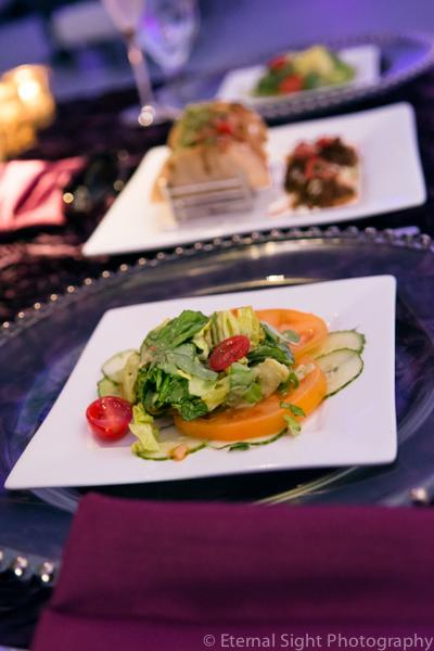 la-vie-en-rose-catering-glass-charger-wedding-purple-venue-tampa-florida