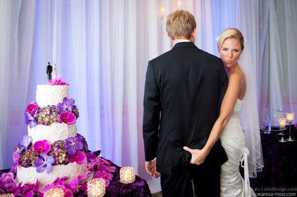 la-vie-en-rose-reception-purple-candle-cake-topper-bride-groom-table-phalaenopsis-orchid-hyatt-clearwater-beach-florida