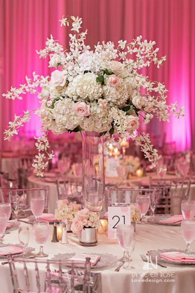 la-vie-en-rose-reception-orchid-roses-hydrangea-centerpiece-guest-table-white-pink-hilton-downtown-tampa-florida