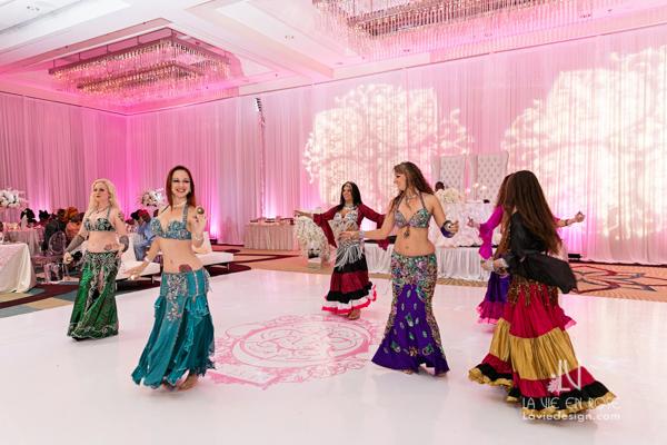 la-vie-en-rose-reception-belly-dancing-entertainment-dancefloor-white-pink-hilton-downtown-tampa-florida