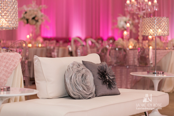 la-vie-en-rose-reception-lounge-furniture-silver-pillows-white-pink-hilton-downtown-tampa-florida