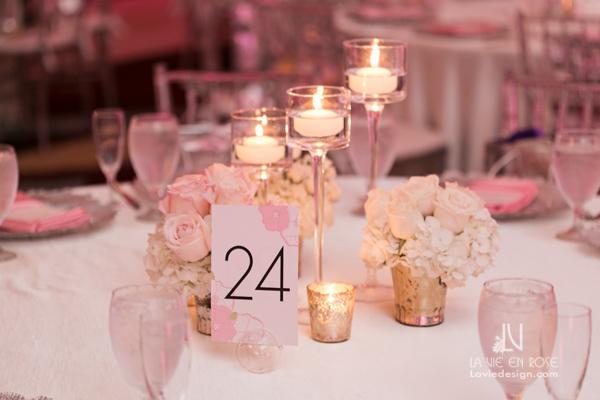 la-vie-en-rose-reception-candle-low-centerpiece-guest-table-white-pink-hilton-downtown-tampa-florida