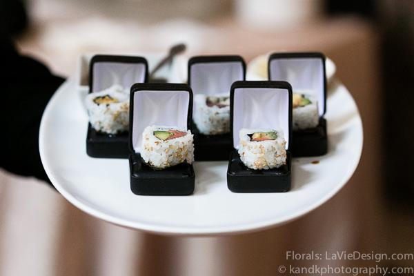 la-vie-en-rose-wedding-sushi-ring-box-creative-cocktail-hour-museum-of-art-tampa-florida